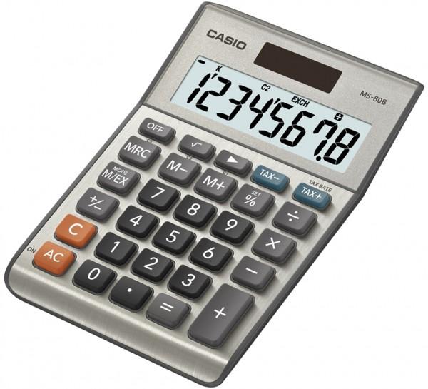 CASIO Tischrechner MS-80 B, Solar-/ Batteriebetrieb