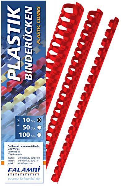 10 Falambi Plastik-Binderücken 21 Ringe - 6 mm - rot
