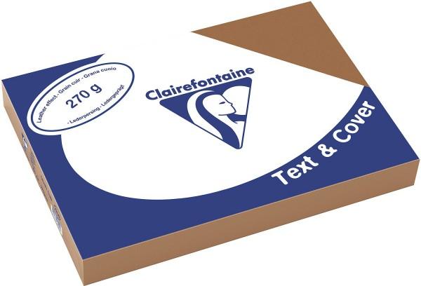 Clairefontaine Einbanddeckel, Lederstruktur, 270 g/m² - braun - braun