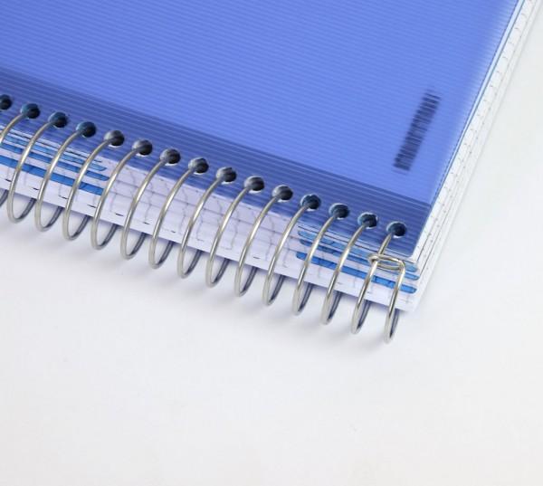 "Notizbuch ""Lines"", PP-Hardcover mit Drahtspiralbindung - blau & Format"