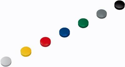 10 Haftmagnete, 24 mm rund, (H) 8 mm, farbig sortiert