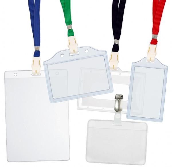 5 Ausweishüllen inkl. CLIP für Namensschild, PVC 78x110mm