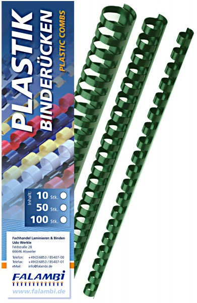 Plastik-Binderücken 21 Ringe 6 mm - grün - grün