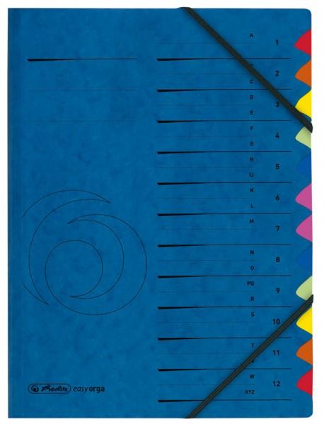 herlitz Ordnungsmappe, DIN A4, Karton, 12 Fächer, blau