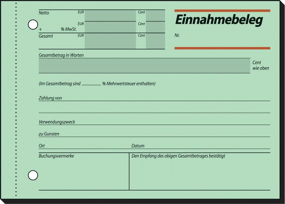 "sigel Formularbuch /""Ausgabe //Einnahmebeleg/"" selbstdurchschreibend A6 quer 2 x 40"