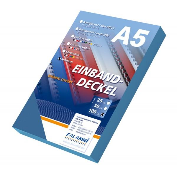 100 DIN A5 Einbanddeckel Lederstruktur, Falambi / Premium 240 g/m² - blau