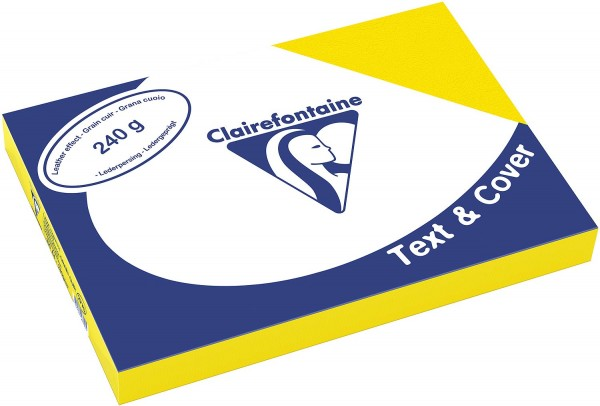 Clairefontaine Einbanddeckel, Lederstruktur, 240 g/m² - gelb - gelb