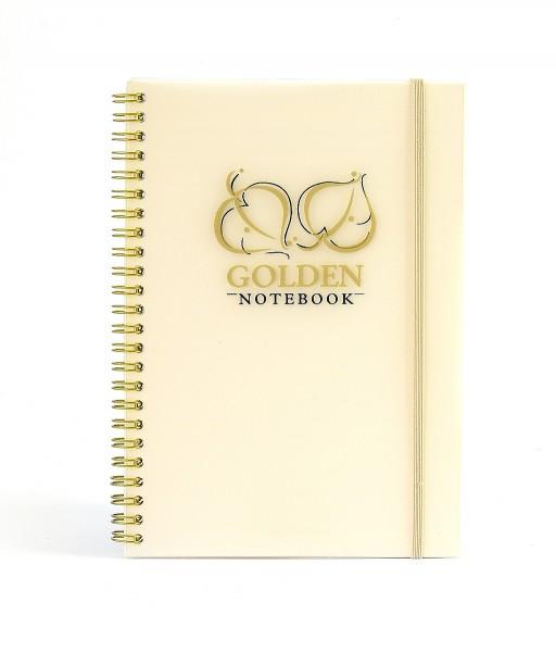 """Notizbuch """"Golden&Silver"""", liniert, PP-Transparentcover, Wire-O-Bindung - gold & Format"""