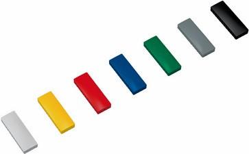 10 Haftmagnete,eckig 54 x 19 mm , farbig sortiert