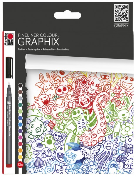 Marabu Fineliner COLOUR GRAPHIX, ´DOODLE SUPREME´, 12er