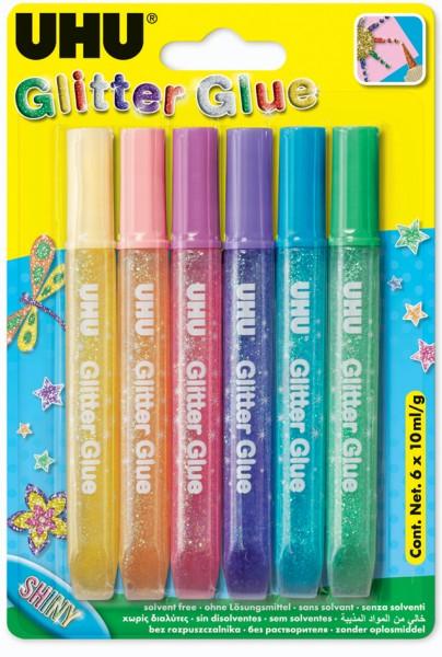 UHU Glitzerkleber Glitter Glue Shiny, Inhalt: 6 x 10 ml