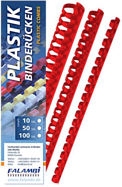Plastik-Binderücken 21 Ringe  6 mm - rot - rot