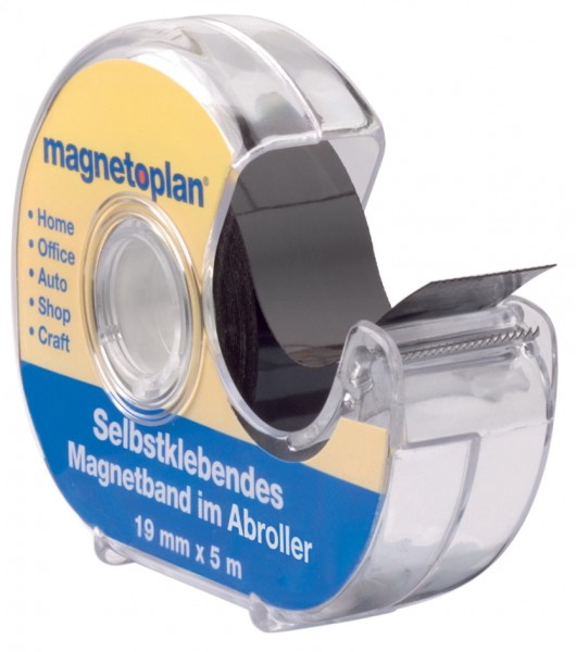 magnetoplan Magnetband im Spender, selbstklebend, schwarz
