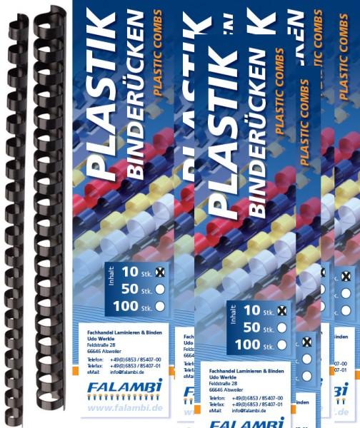 100 Plastikbinderücken, Sortiment 6 - 19 mm, schwarz