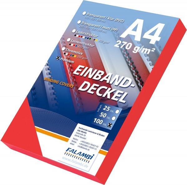 100 Einbanddeckel Lederstruktur, Falambi / Premium 270 g/m² - rot