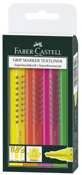 FABER-CASTELL Textmarker GRIP MARKER TEXTLINER, 4er Etui