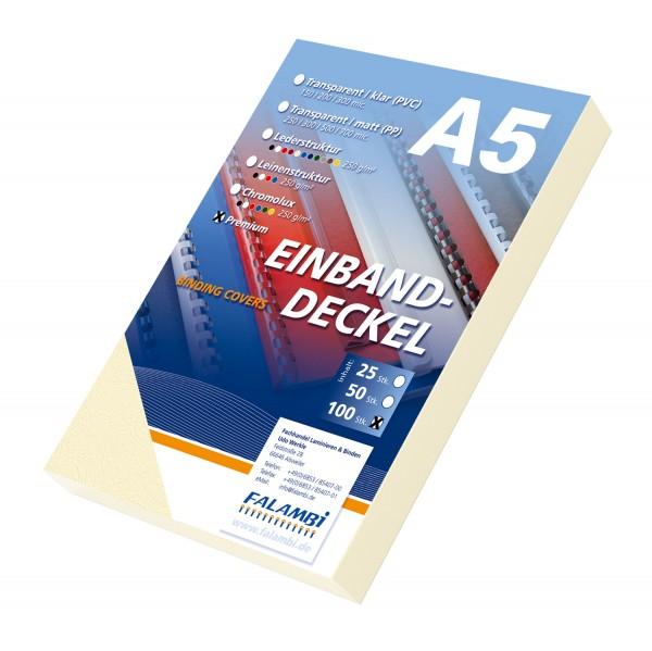 100 DIN A5 Einbanddeckel Lederstruktur, Falambi / Premium 240 g/m² - elfenbein