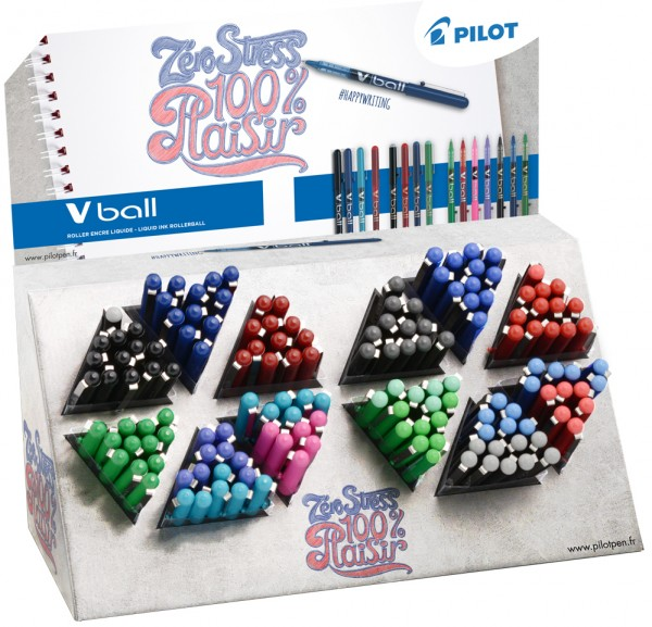 PILOT Tintenroller V-BALL 05/07/1.0, 180er Display