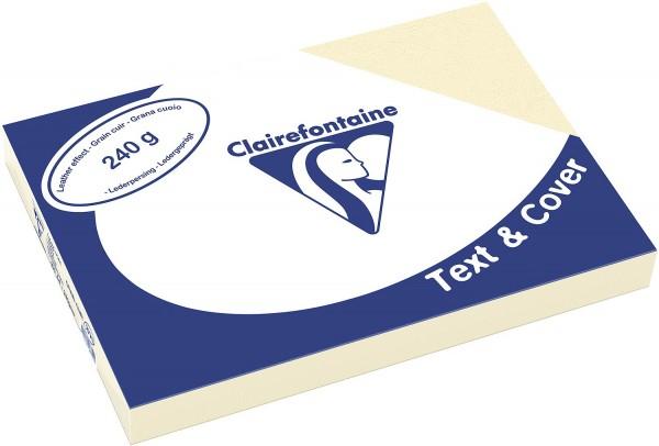 Clairefontaine Einbanddeckel, Lederstruktur, 240 g/m² - elfenbein - elfenbein