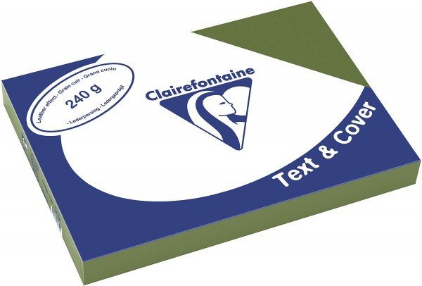 Clairefontaine Einbanddeckel, Lederstruktur, 240 g/m² - dunkelgrün - dunkelgrün
