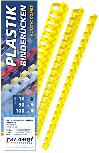 10 Falambi Plastik-Binderücken 21 Ringe - 6 mm - gelb