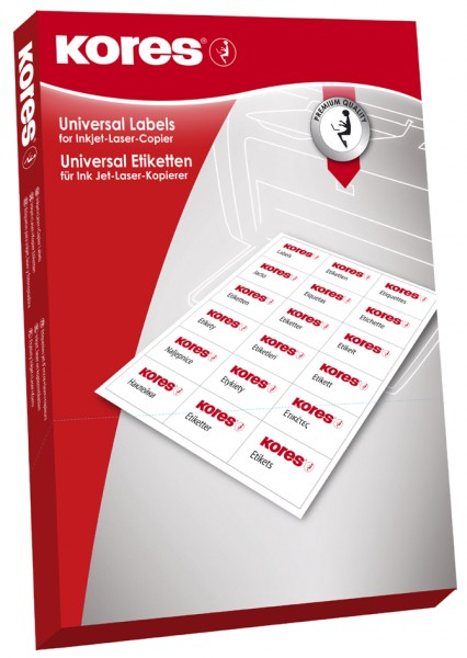 Kores Universal-Etiketten, 70 x 36 mm, weiß, 100 Blatt