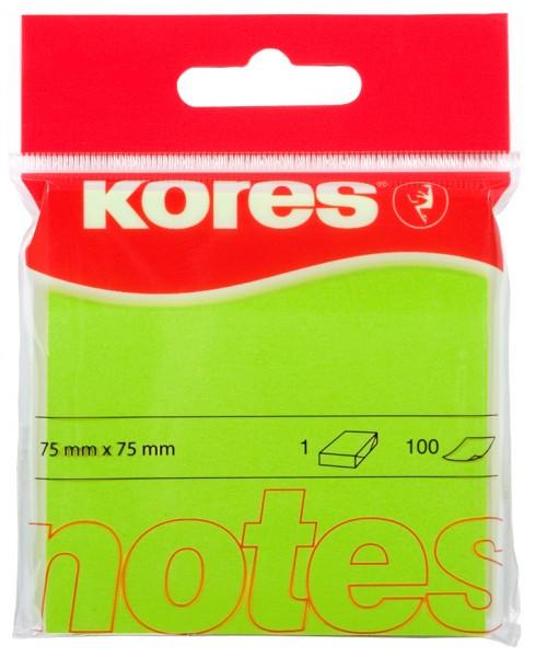 Kores Haftnotizen ´NEON´, 75 x 75 mm, blanko, neon-grün