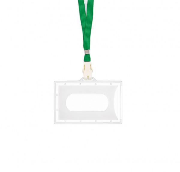 5 Kartenhalter inkl. CLIP - transparent matt - grün