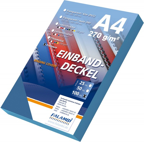 100 Einbanddeckel Lederstruktur, Falambi / Premium 270 g/m² - blau