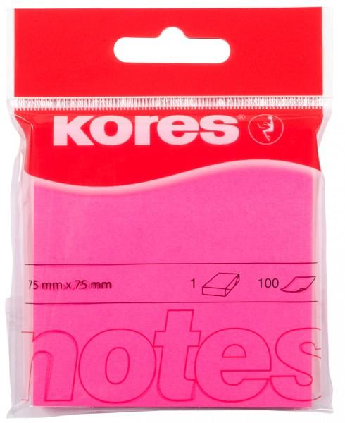 Kores Haftnotizen ´NEON´, 75 x 75 mm, blanko, neon-pink