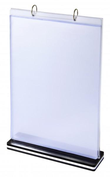 Tischaufsteller / Werbeaufsteller, Acryl, mit 6 umklappbaren Hüllen - DIN A4_hoch