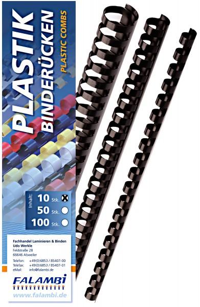 10 Falambi Plastik-Binderücken 21 Ringe - 6 mm - schwarz