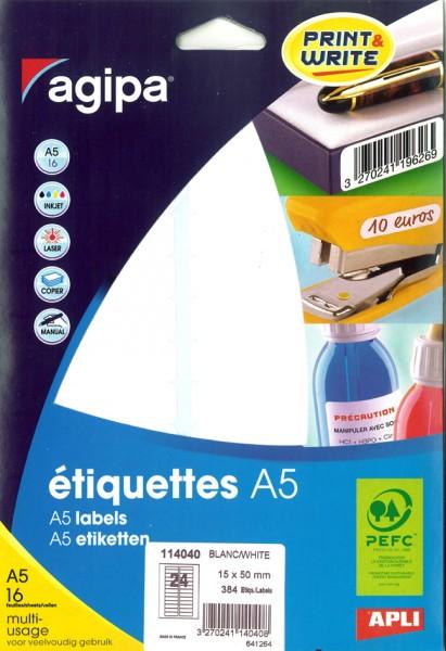 weiß 19 x 38 mm agipa Universal-Etiketten