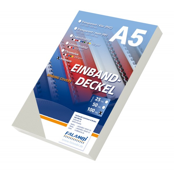 100 DIN A5 Einbanddeckel Lederstruktur, Falambi / Premium 240 g/m² - hellgrau