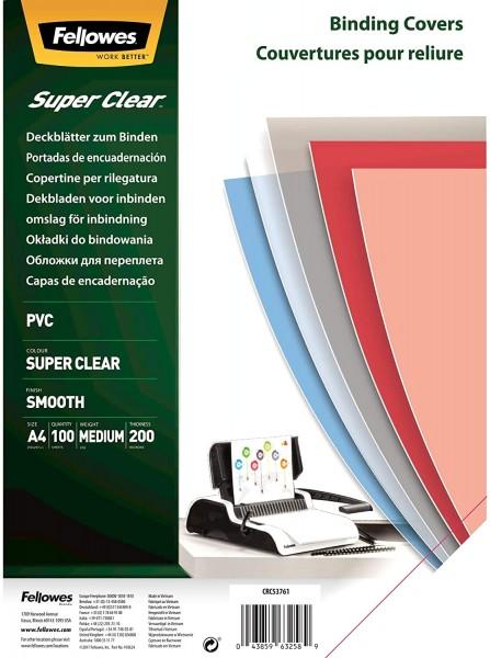 Deckelfolie DIN A4, Fellowes, transparent-klar - 200 mic - 0,20 mm