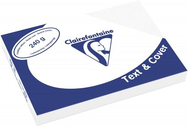 Clairefontaine Einbanddeckel, Lederstruktur, 240 g/m² - weiß